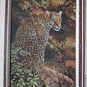 """Картины и панно ручной работы. Ярмарка Мастеров - ручная работа Картина вышитая крестиком """"Взгляд леопарда"""". Handmade."""