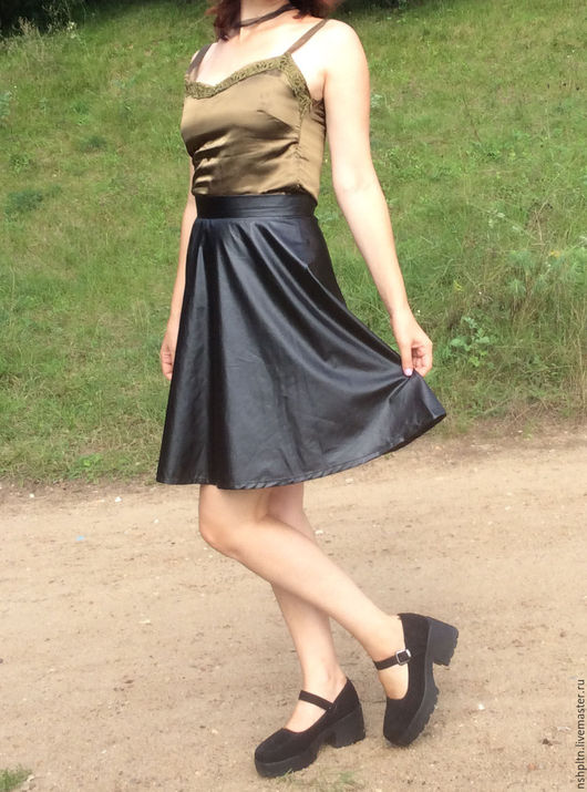Юбки ручной работы. Ярмарка Мастеров - ручная работа. Купить юбка-полусолнце из экокожи. Handmade. Черный, юбка на заказ