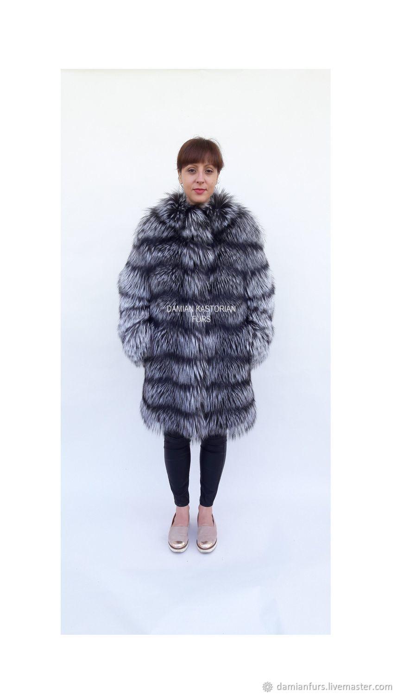Silver fox fur coat/fur coat/fox fur/fur/real fur/fox fur coat, Fur Coats, Thessaloniki,  Фото №1