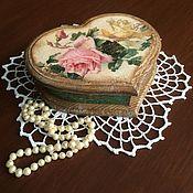 """Для дома и интерьера ручной работы. Ярмарка Мастеров - ручная работа Шкатулка-сердце """"Винтажные розы"""". Handmade."""