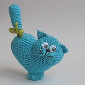 Куклы и игрушки handmade. Livemaster - original item Knitted toy cat Valentine blue. Handmade.