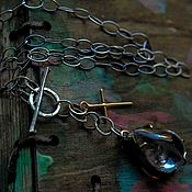 Украшения handmade. Livemaster - original item Necklace silver with natural stone, cross and gilding. Handmade.