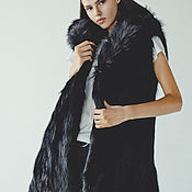 Одежда handmade. Livemaster - original item Black Long fox fur vest. Handmade.
