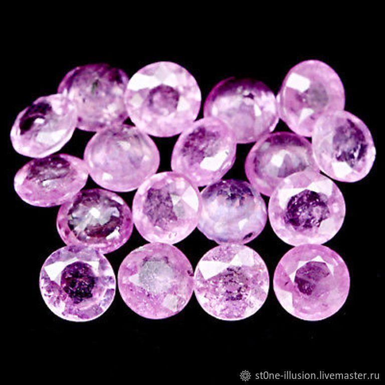 Рубин розовый натуральный, круг, 3,8-4,2 мм, 50 шт, Кабошоны, Махачкала, Фото №1