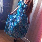 Одежда handmade. Livemaster - original item Dress summer long skirt flying forget-me-nots. Handmade.