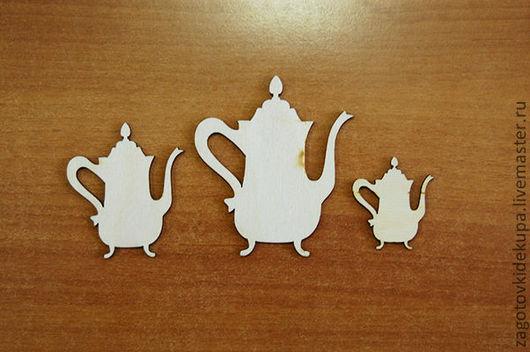 Набор чайников 3 шт. Размер: 8х7, 6х5, 4х3,5 см Материал: фанера 3 мм