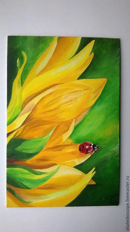 """Картины цветов ручной работы. Ярмарка Мастеров - ручная работа. Купить """"Привет из лета"""". Handmade. Желтый, картина маслом"""