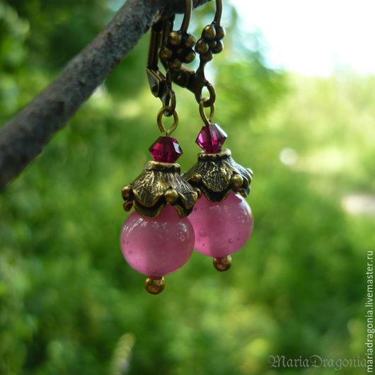 Серьги ручной работы. Ярмарка Мастеров - ручная работа. Купить Серьги розовые полупрозрачные (вишневые серьги, латунь). Handmade.