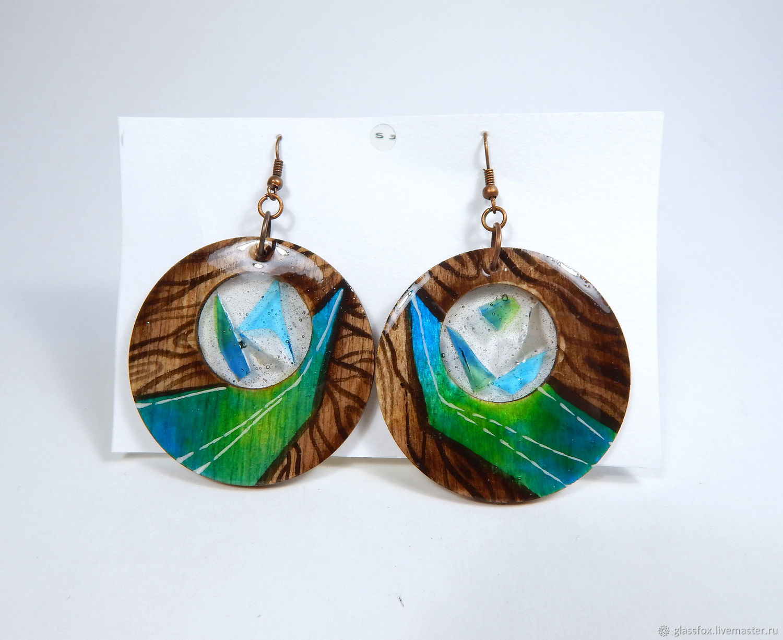 Wooden fashion earrings ' Heart of Africa', Thread earring, St. Petersburg,  Фото №1