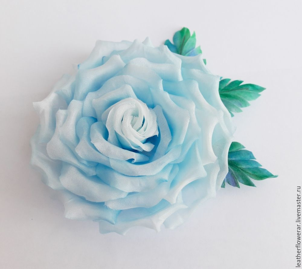 Роза светло-голубая Цветок из натурального шелка, ткани брошь, заколка, Броши, Москва, Фото №1