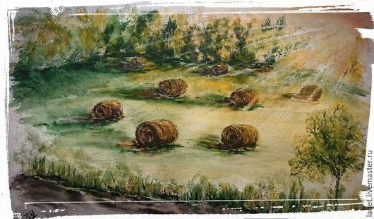 """Пейзаж ручной работы. Ярмарка Мастеров - ручная работа. Купить Акварель """"Август в Подмосковье"""". Handmade. Оливковый, август, сено, урожай"""