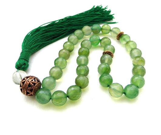 """Четки ручной работы. Ярмарка Мастеров - ручная работа. Купить Четки """"О вечном..."""" зеленый халцедон горный хрусталь 33 камня с кистью. Handmade."""