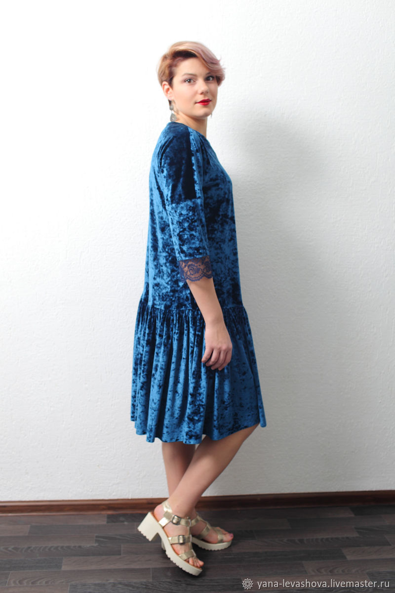Dress blue marble velvet trapeze with lace elegant evening, Dresses, Moscow,  Фото №1