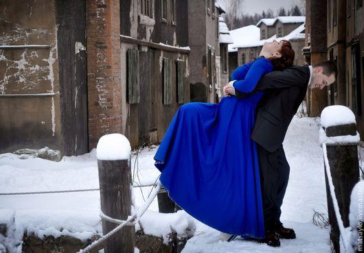"""Платья ручной работы. Ярмарка Мастеров - ручная работа. Купить Длинное платье """"Магический синий"""". Handmade. Тёмно-синий"""