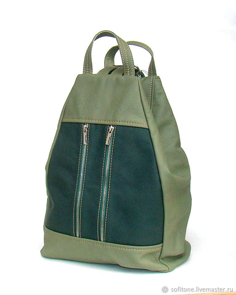 d47ca8dbd94b Рюкзаки ручной работы. Ярмарка Мастеров - ручная работа. Купить Рюкзак  кожаный Зеленый с оливковым ...