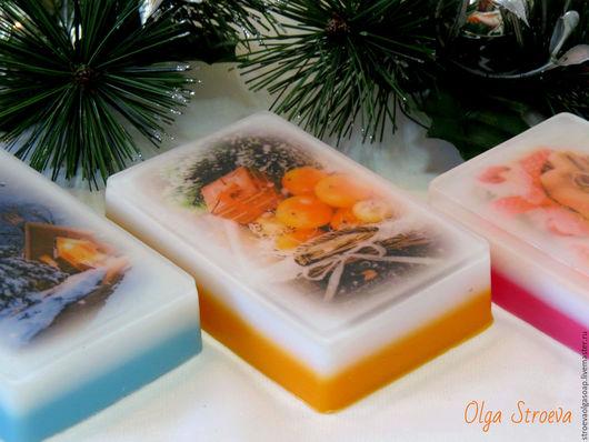 Мыло ручной работы. Ярмарка Мастеров - ручная работа. Купить Новогоднее мыло с картинкой (мыло-открытка). Handmade. Мыло