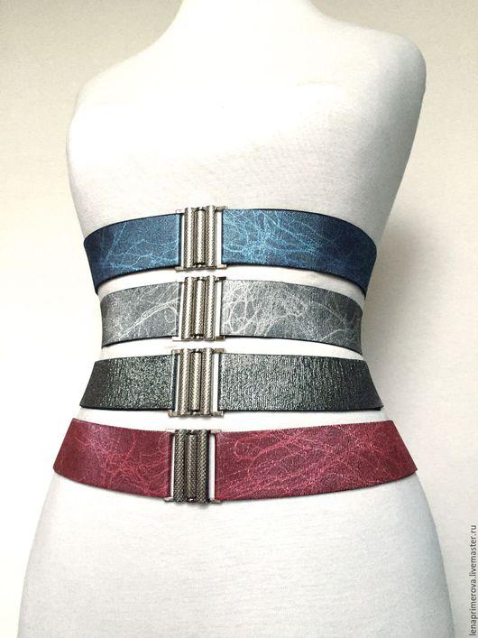 Пояса, ремни ручной работы. Ярмарка Мастеров - ручная работа. Купить 4 пояса-резинки 40мм как пример разного цвета, фактуры, разные пряжки. Handmade.