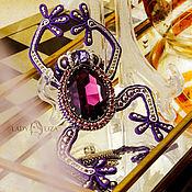 Украшения handmade. Livemaster - original item Brooch-pin: frog. Purple brooch. SWAROVSKI. Handmade.