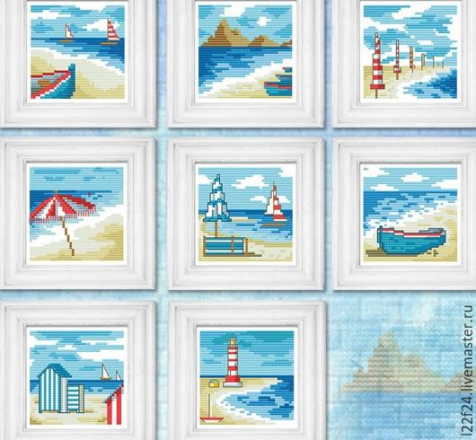 """Детская ручной работы. Ярмарка Мастеров - ручная работа. Купить 8 картин , набор для вышивания """"Море, песок ....."""". Handmade."""