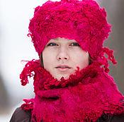 Аксессуары ручной работы. Ярмарка Мастеров - ручная работа Шапка и шарф Фуксия. Handmade.