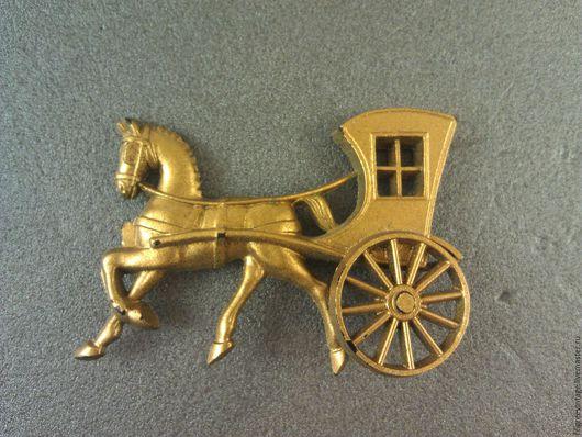Винтажные украшения. Ярмарка Мастеров - ручная работа. Купить Старинная брошь лошадь и экипаж. Unkas. Handmade. Золотой, старинная брошь