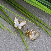 Украшения handmade. Livemaster - original item Stylish gold butterfly stud earrings with iridescent mother-of-pearl. Handmade.