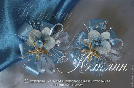 Одежда и аксессуары ручной работы. Ярмарка Мастеров - ручная работа. Купить Бутоньерки в морском стиле с орхидеей. Handmade. Голубой