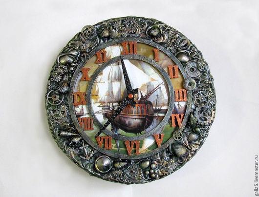 """Часы для дома ручной работы. Ярмарка Мастеров - ручная работа. Купить Настенные часы  """" Воздушный корабль """". Handmade."""