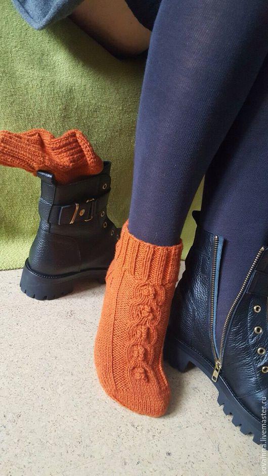 """Носки, Чулки ручной работы. Ярмарка Мастеров - ручная работа. Купить Носочки вязаные,,Romance""""из мериносовой шерсти. Handmade. Рыжий"""