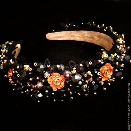 Диадемы, обручи ручной работы. Ярмарка Мастеров - ручная работа. Купить Ободок в стиле Dolce Gabbana. Handmade. Черный, тиара