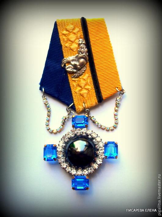 """Броши ручной работы. Ярмарка Мастеров - ручная работа. Купить Орден """"Синий крест"""". Handmade. Синий, желто-синий, пуговица"""