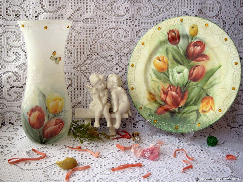 Ваза для цветов и тарелка декоративная, Вазы, Москва,  Фото №1