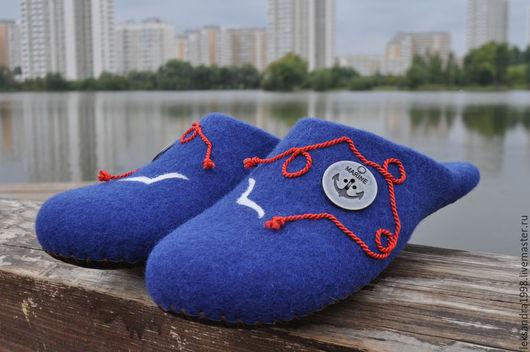 """Обувь ручной работы. Ярмарка Мастеров - ручная работа. Купить Валяные тапочки мужские """" Мореман"""". Handmade. Тёмно-синий"""