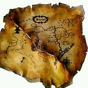 Картины и панно ручной работы. Ярмарка Мастеров - ручная работа Старинная карта, натуральная кожа. Handmade.