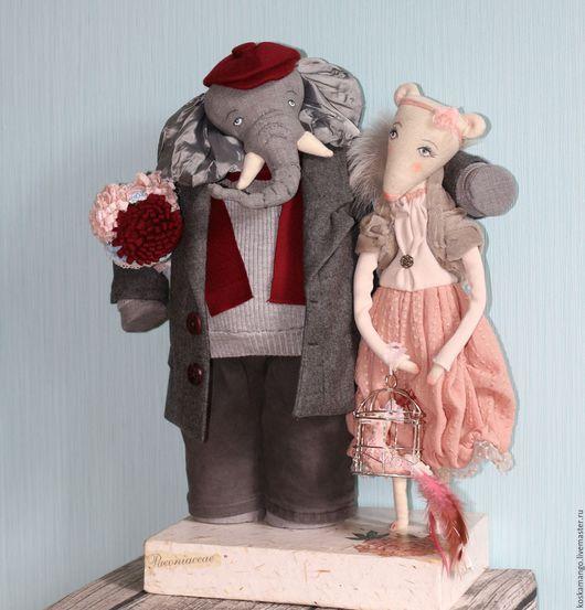 Коллекционные куклы ручной работы. Ярмарка Мастеров - ручная работа. Купить Слон и Мыш. Handmade. Серый, муж и жена, ткани