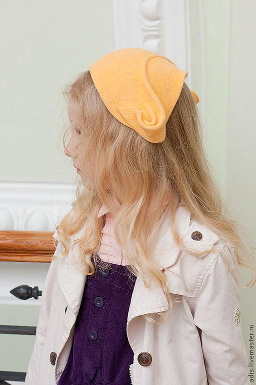 Шляпы ручной работы. Ярмарка Мастеров - ручная работа. Купить шляпа накладка детская. Handmade. Бежевый, шляпка для девочки, велюр
