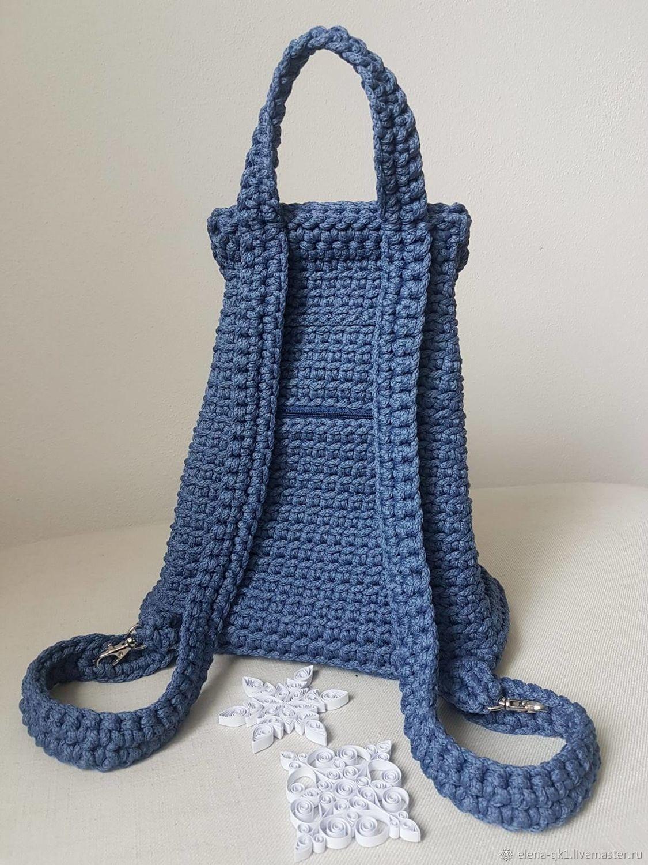 Вязанный рюкзак цвета джинс, Рюкзаки, Омск,  Фото №1