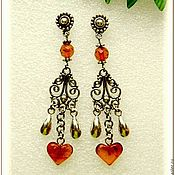"Украшения handmade. Livemaster - original item Серьги ""Красота сердца"" янтарь серебро. Handmade."
