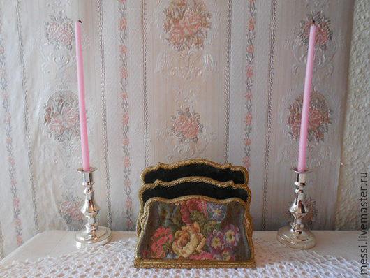 Винтажные предметы интерьера. Ярмарка Мастеров - ручная работа. Купить Винтажная подставка для писем, салфеток, открыток тканый гобелен Шебби. Handmade.