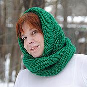 """Аксессуары ручной работы. Ярмарка Мастеров - ручная работа Снуд-шарф  ярко-зеленый """"Изумрудный"""" ( полушерсть). Handmade."""