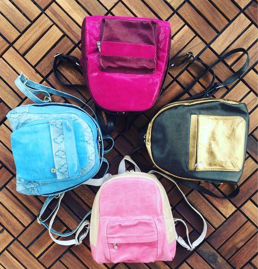 Рюкзаки ручной работы. Ярмарка Мастеров - ручная работа. Купить Четыре ярких рюкзака. Handmade. Рюкзак женский, кожа натуральная
