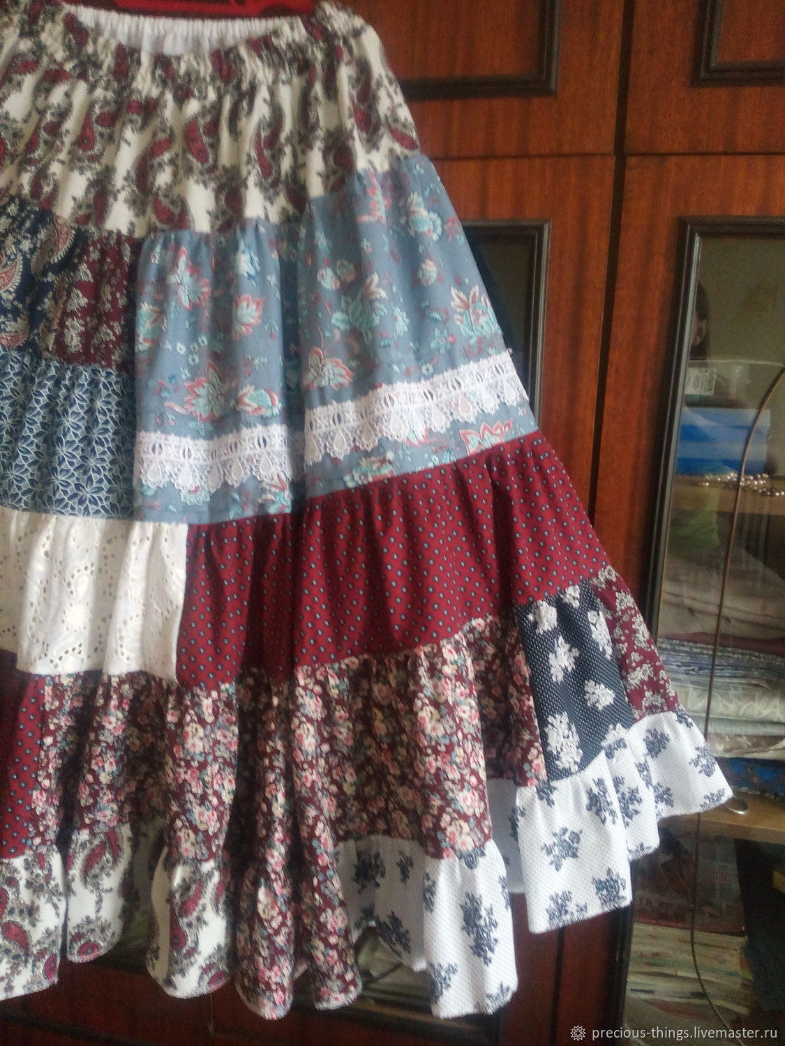 Long patchwork boho romantic cotton skirt, Skirts, St. Petersburg,  Фото №1