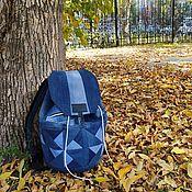 Сумки и аксессуары handmade. Livemaster - original item Triangle V denim Backpack. Handmade.