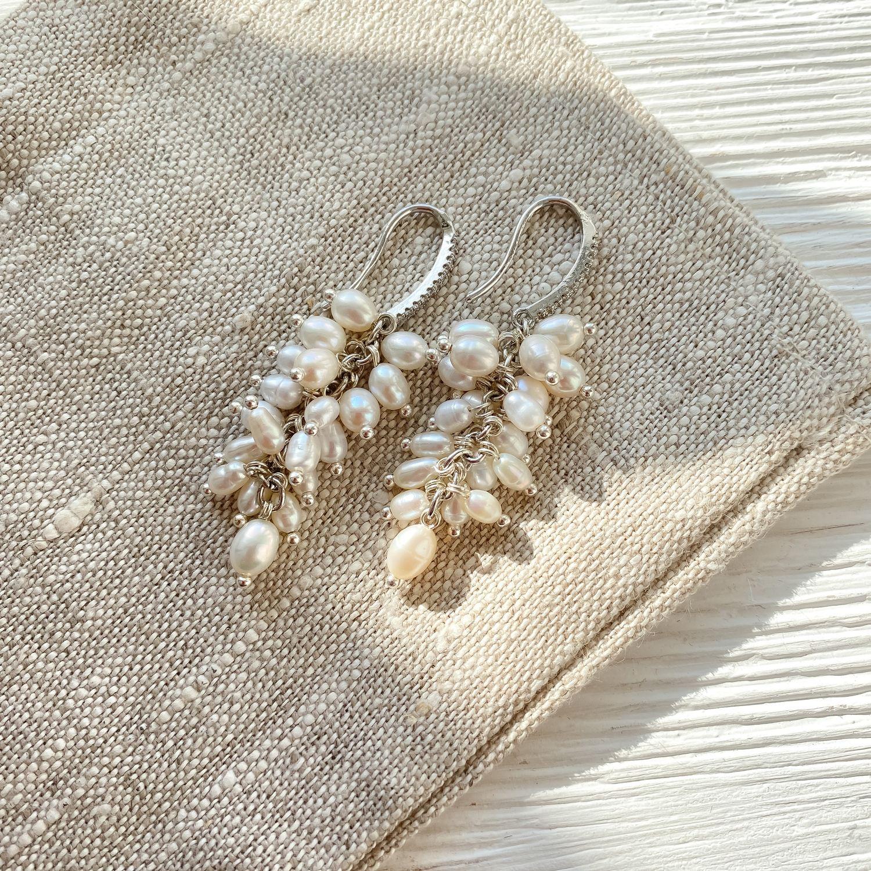 Earrings Cluster white freshwater pearls, Earrings, Kazan,  Фото №1