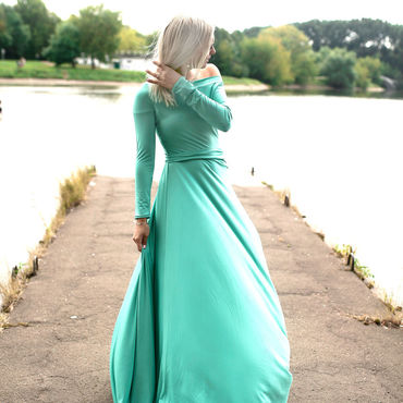 Одежда ручной работы. Ярмарка Мастеров - ручная работа Мятное платье с широким вырезом. Handmade.