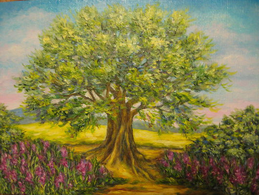 """Пейзаж ручной работы. Ярмарка Мастеров - ручная работа. Купить картина """"L'Occitane"""". Handmade. Пейзаж, природа, летний пейзаж, дерево"""
