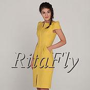 Одежда ручной работы. Ярмарка Мастеров - ручная работа 306: Платье повседневное, платье на молнии, платье желтое. Handmade.