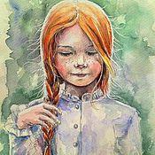"""Картины и панно ручной работы. Ярмарка Мастеров - ручная работа Картина акварелью """"Рыжее солнышко"""". Handmade."""