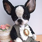 Куклы и игрушки ручной работы. Ярмарка Мастеров - ручная работа Тедди щенок Бобби.Бостон терьер. Handmade.