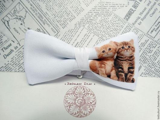 Галстуки, бабочки ручной работы. Ярмарка Мастеров - ручная работа. Купить Галстук-бабочка Котята/ Котик/ кот/ кошка/ бабочка с котиком/ котёнок. Handmade.
